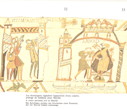 Extract of the Bayeux Tapestry where a comet portends evil to Harold courtesy of Tapisserie de Bayeux